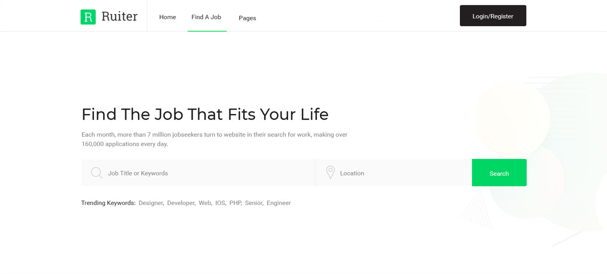 Career site built with Ruiter's website builder for recruiters